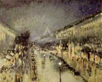 Boulevard Montmartre at Night, 1897 by Camille Pissarro